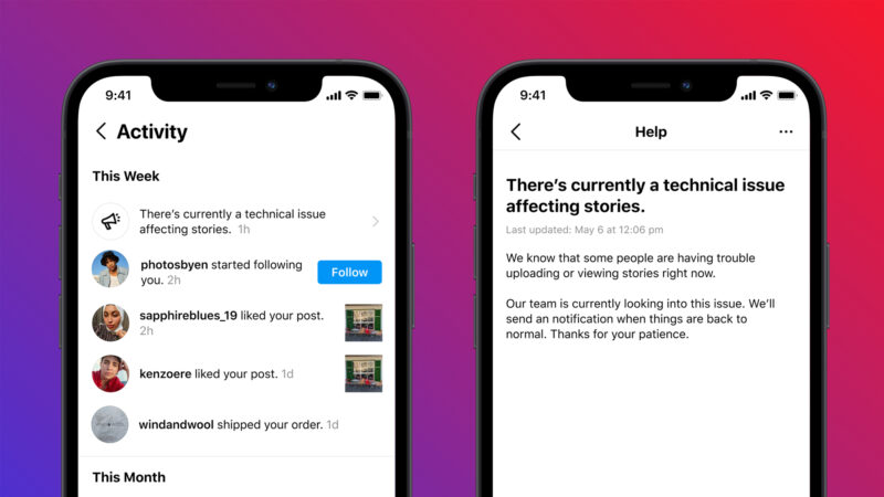 Instagram testing outage alerts following latest incidents with Facebook servers